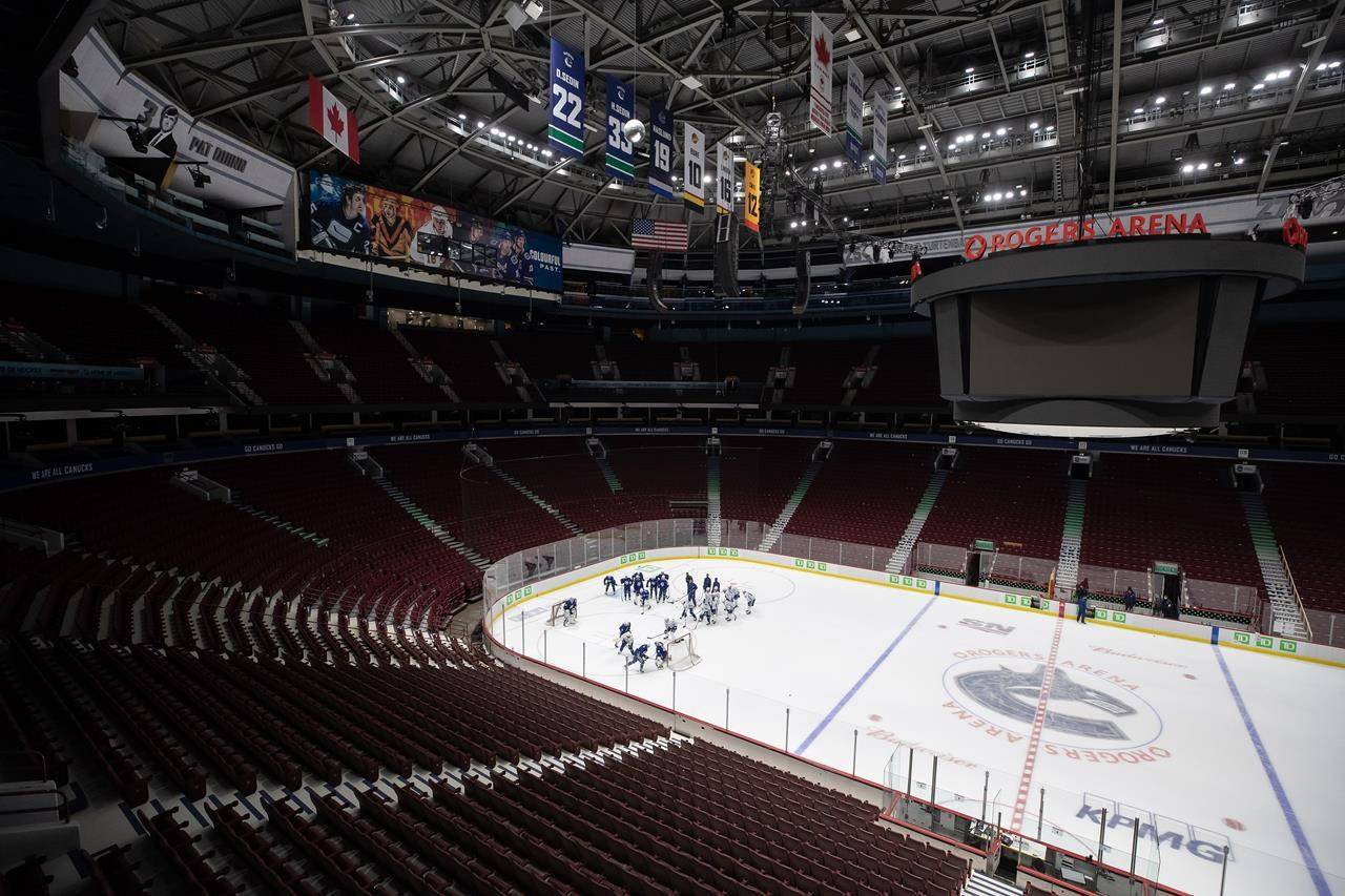 Vancouver Canucks players participate in the NHL hockey team's training camp in Vancouver, on January 8, 2021. THE CANADIAN PRESS/Darryl Dyck