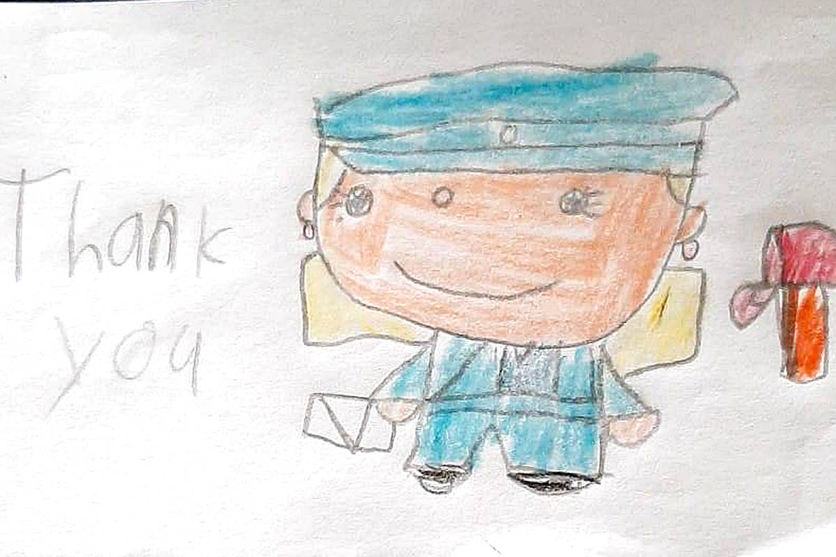 This Christmas, a few children were asked to draw thank you notes to the posties from Canada Post, as part of the Moe Moe Effect. (Special to Langley Advance Times)