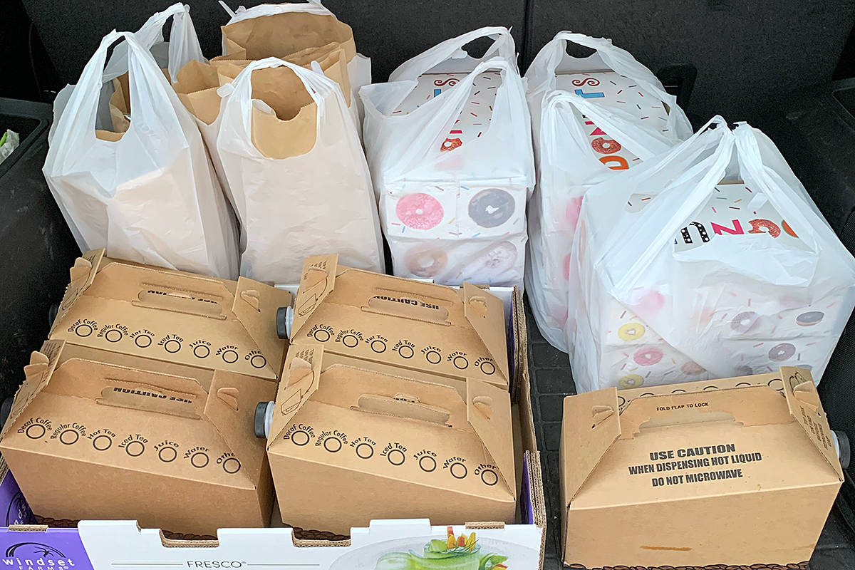 Bags of donuts and tubs of coffee were dropped off to local firefighters during the holiday season, as a form of thanks. It was part of the Moe Moe Effect – a grassroots kindness initiative started in Langley but spreading. (Special to Langley Advance Times)