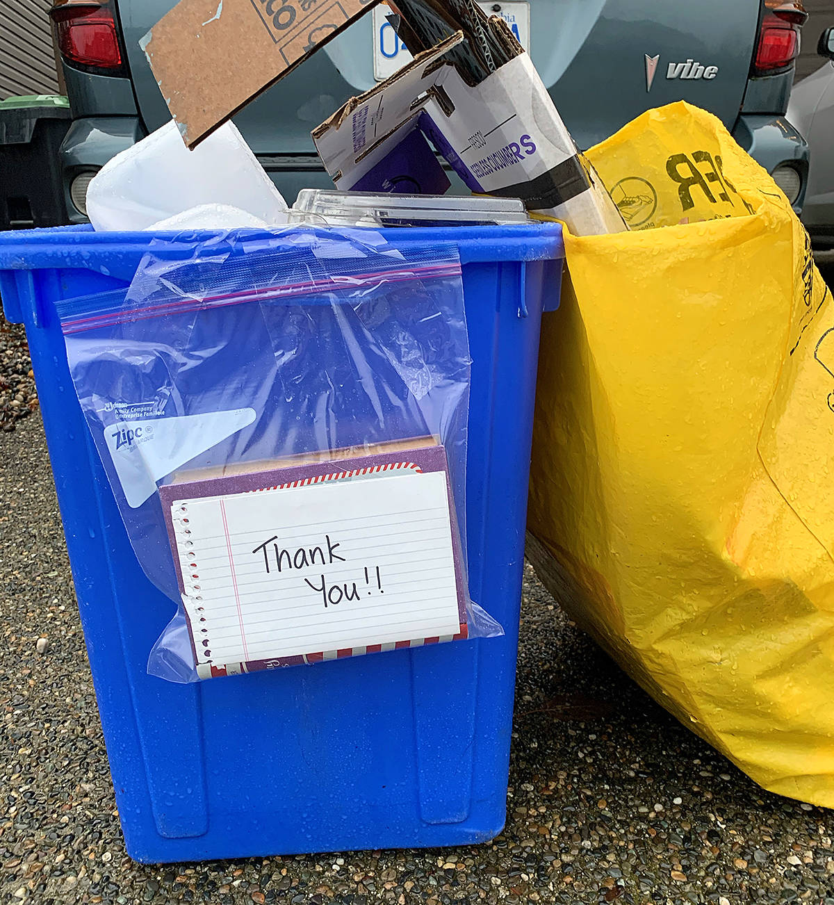 Tokens of thanks, including boxes of chocolates, were taped to bins that were put out to the curb. Enclosed was a thank you note to the waste collection teams for their efforts. It was part of the Moe Moe Effect. (Special to Langley Advance Times)