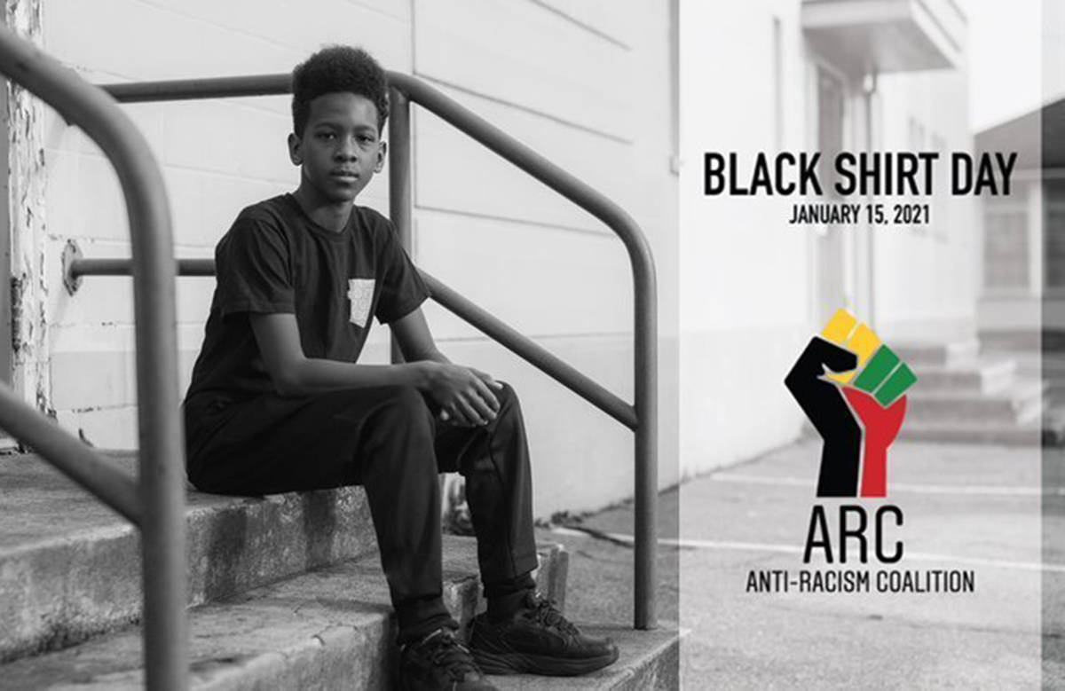 Anti-Racist Coalition Vancouver started a petition calling on B.C.'s education officials to make Black Shirt Day official. The inaugural event in solidarity with Black and racialized Canadians takes place on Friday, Jan. 15. (Screenshot/Change.org)