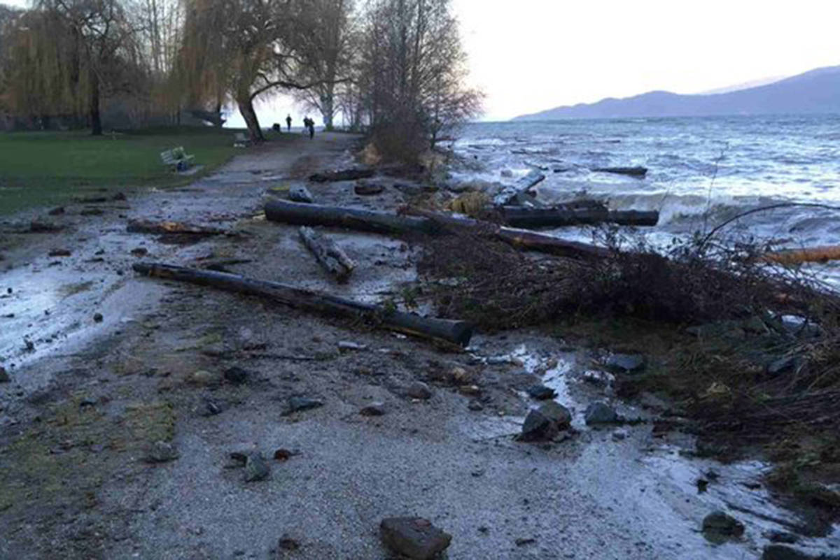 High waves and a king tide have left parts of Stanley Park a little worse for the wear on Wednesday, Jan. 13, 2021. (Vancouver Park Board/Twitter)