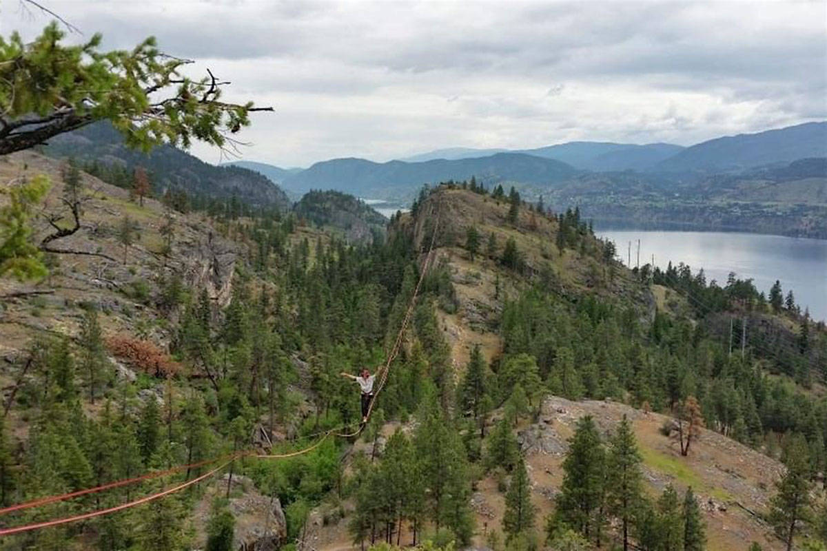 Slack line provides thrills and views at Skaha Bluffs Park in the South Okanagan. (Penticton Western News)