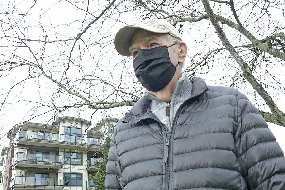 When Langley City resident Dale Attrell, 92, seen here walking in Douglas Park on Saturday, Jan. 10, started a walking club for seniors, it filled up quickly. (Dan Ferguson/Langley Advance Times)