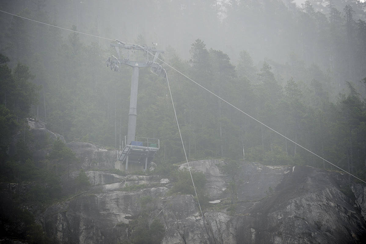 Downed cable hangs on a tower at the Sea to Sky Gondola in Squamish, B.C. Monday, September 14, 2020. Vandals cut the main gondola cable again for the second time in two years shutting down the attraction. THE CANADIAN PRESS/Jonathan Hayward