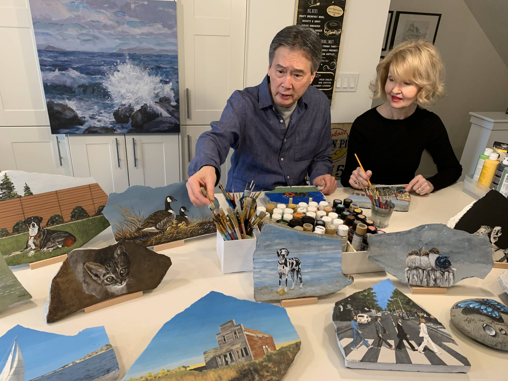 When the pandemic forced the shut down of playgrounds in Langley this past Spring it sparked creativity for these Langley grandparents Herb and Cherri Kwan, who found themselves picking up a paint brush to help keep the local kids occupied. (Bernadette Amiscaray/Special to Langley Advance Times)