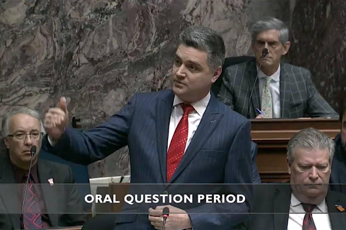 Kamloops-South Thompson MLA Todd Stone questions the NDP government in the B.C. legislature, Feb. 25, 2020. (Hansard TV)