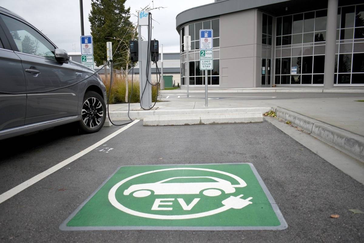 Electric charging stations, like this one outside the new North Delta Centre for the Arts, might be seeing more commercial delivery vehicles using them soon, if a provincial rebate program takes off. (James Smith photo/Special to Black Press Media)