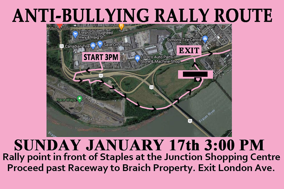 The route of the pink parade. The Record has blackened out the name of the teen. Facebook photo.