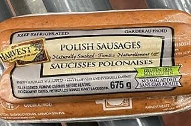 Harvest Meats is recalling a brand of Polish sausages, shown in a handout photo, due to undercooking that may make them unsafe to eat. The Canadian Food Inspection Agency says the recall affects customers in Alberta, British Columbia, Manitoba, Northwest Territories, Ontario and Saskatchewan. THE CANADIAN PRESS/HO-Canadian Food Inspection Agency Mandatory Credit