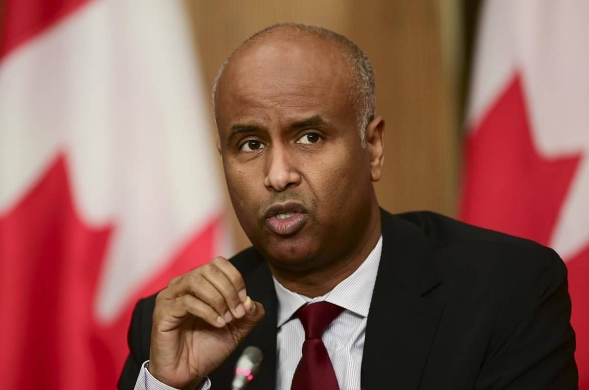 Minister of Families, Children and Social Development Ahmed Hussen takes part in an update on the COVID pandemic during a press conference in Ottawa on Tuesday, Oct. 27, 2020. THE CANADIAN PRESS/Sean Kilpatrick