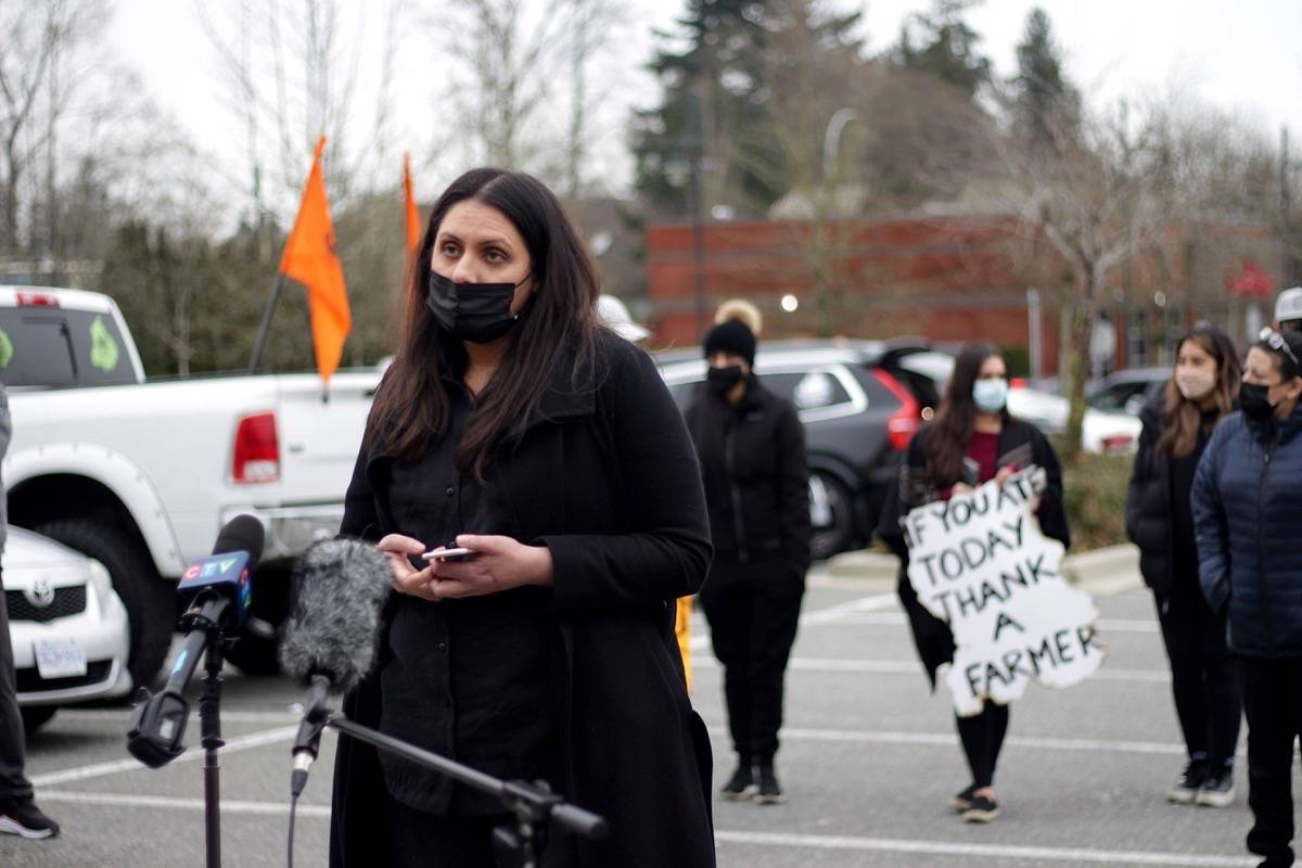 Pindie Dhaliwal, one of the organizers for the Surrey Challo protest for Indian farmers. She says organizers were told by Surrey RCMP that the event was not allowed due to COVID-19. Organizers ended up moving the protest to Strawberry Hill at the last minute. (Photo: Lauren Collins)
