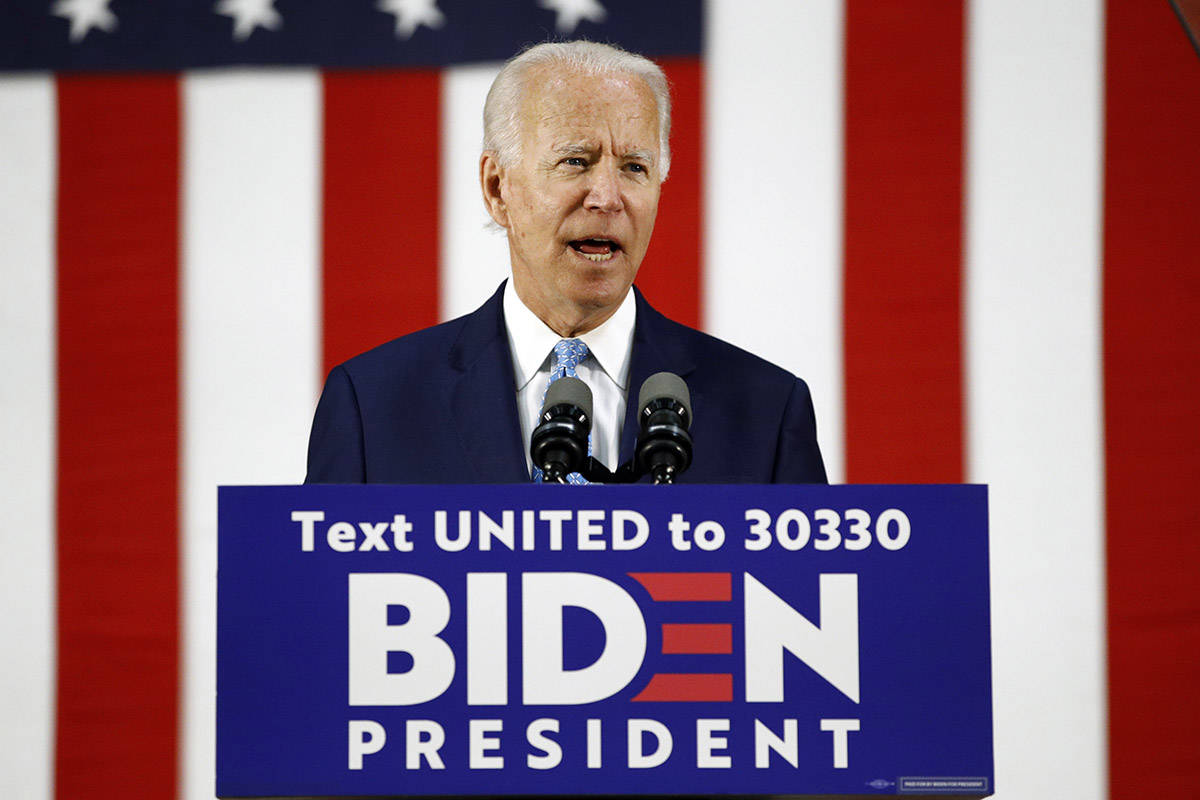 FILE – Then-Democratic presidential candidate, former Vice President Joe Biden speaks at Alexis Dupont High School in Wilmington, Del., Tuesday, June 30, 2020. THE CANADIAN PRESS/AP-Patrick Semansky