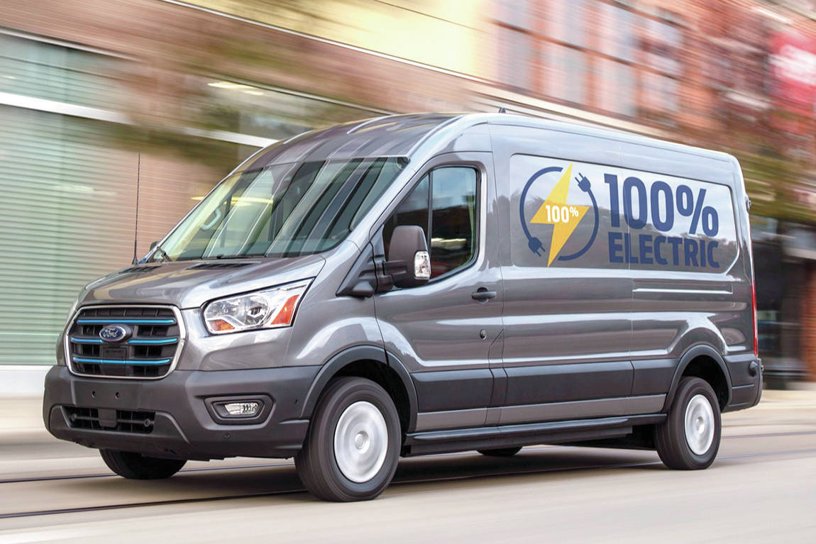 Electric commercial vans make good sense because they can provide remote power for tools without carrying a supplemental generator. PHOTO: FORD