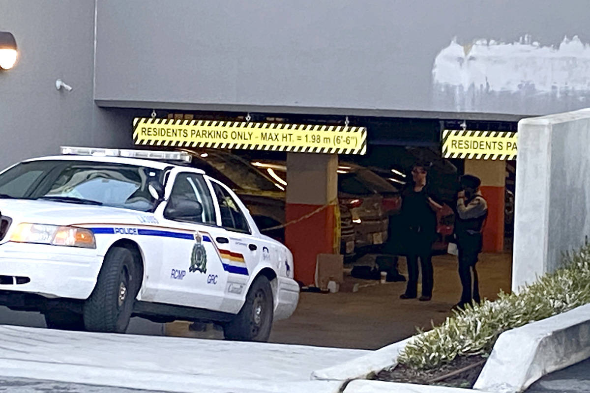 RCMP were called to the 5600 block of 201A Street just after midnight on Monday were they found a 27-year-old man in an underground parking garage who had sustained multiple shot wounds. (Lisa Farquharson/Langley Advance Times)