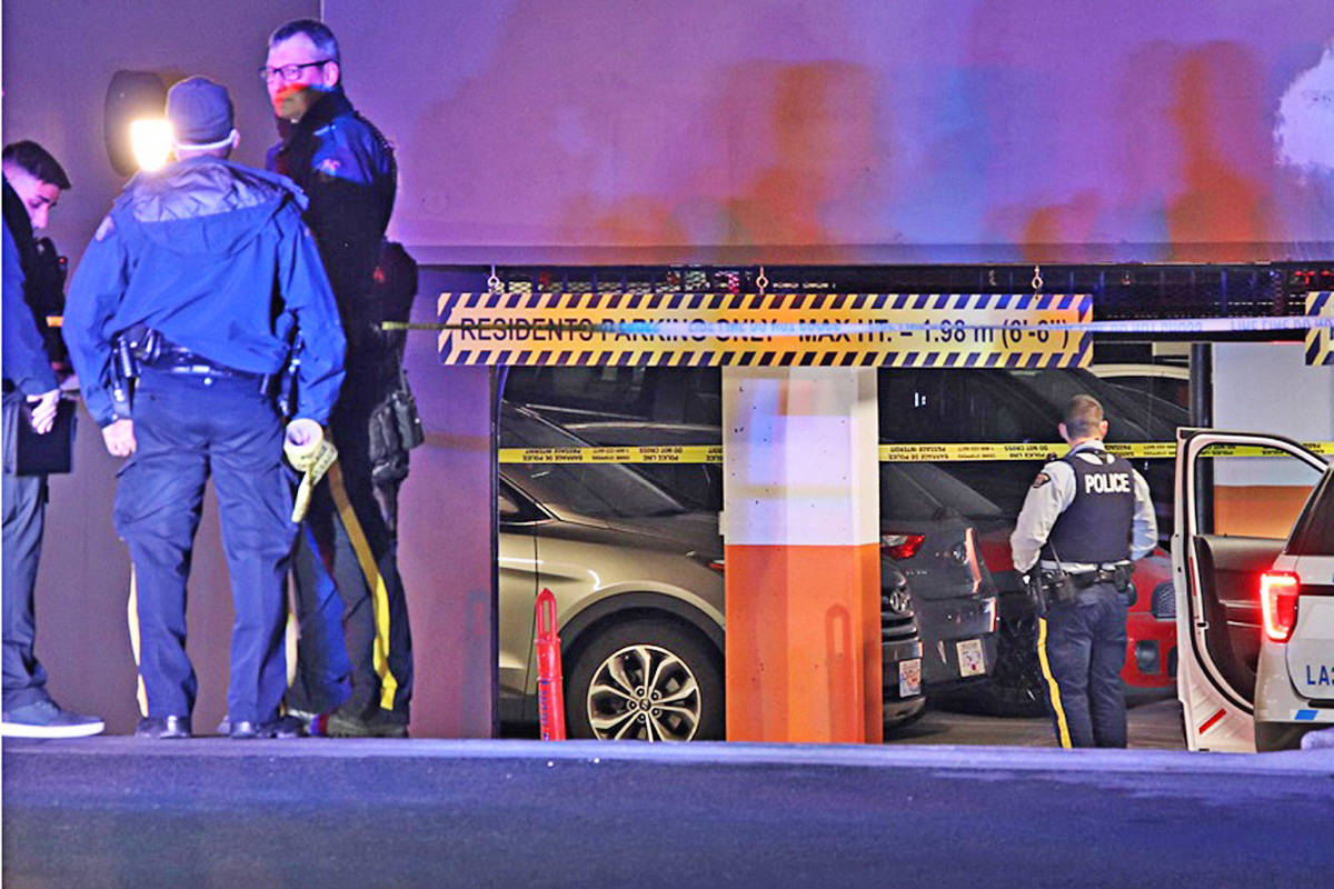 The RCMP was called to a condo complex in Langley City in the early hours of Jan. 18, 2021, for a shooting. (Shane MacKichan/Special to the Langley Advance Times) The RCMP was called to a condo complex in Langley City in the early hours of Jan. 18, 2021, for a shooting. (Shane MacKichan/Special to the Langley Advance Times)