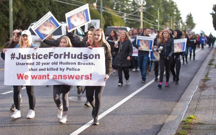 Family and friends of Hudson Brooks marched as part of a call for answers from an IIO investigation into his 2015 death. (Black Press Media files)