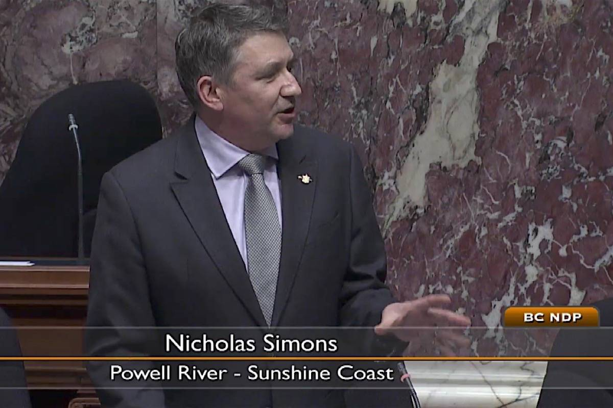 Powell River-Sunshine Coast MLA Nicholas Simons was appointed to the NDP cabinet as minister of social development and poverty reduction after the October 2020 B.C. election. (Hansard TV)