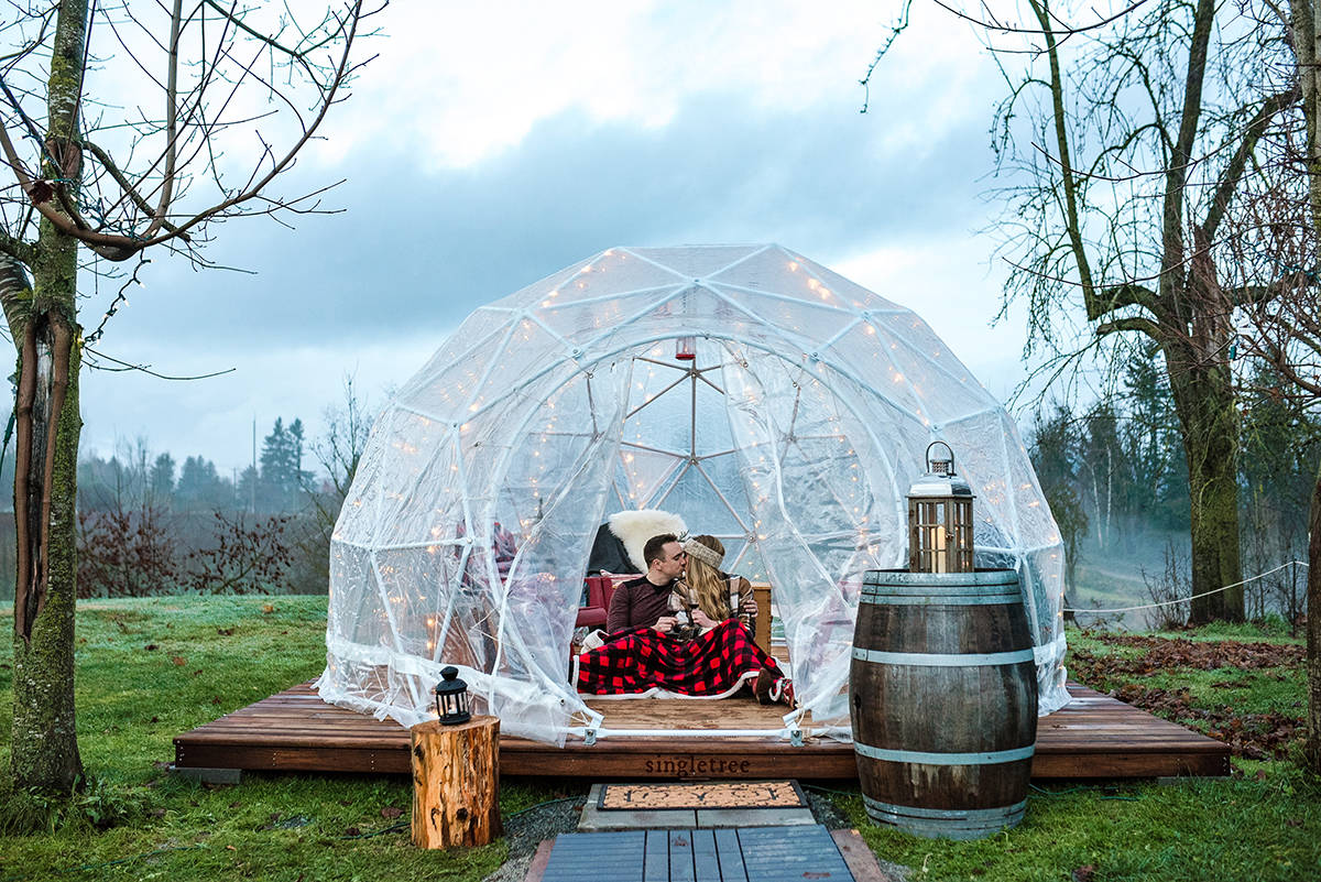 Singletree Winery in Abbotsford has opened two domes where customers can enjoy wine tastings and local goodies. Photo by Megan Ashley Creative