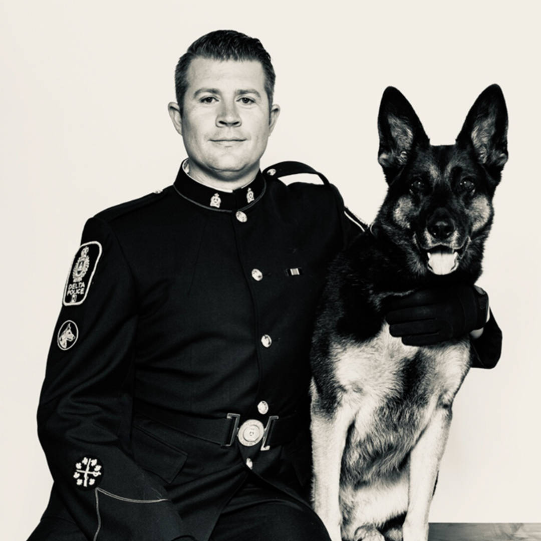 Dezi and Delta Police Constable Jason Martens at the start of their partnership 10 years ago. (Photo submitted)