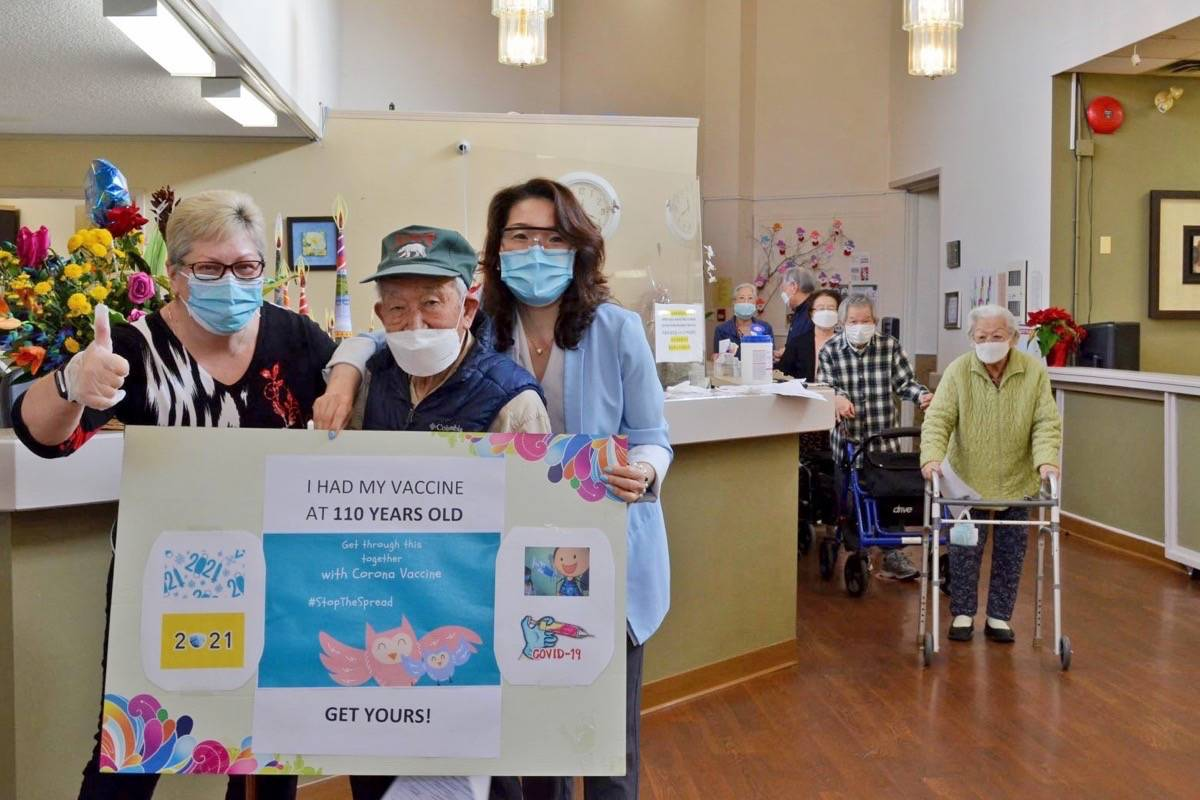 """JaHyung Lee, """"Canada's oldest senior"""" at 110 years old, received his first dose of the COVID-19 vaccine on Thursday, Jan. 14, 2021. He lives at Amenida Seniors Community in Newton. (Submitted photo: Amenida Seniors Community)"""