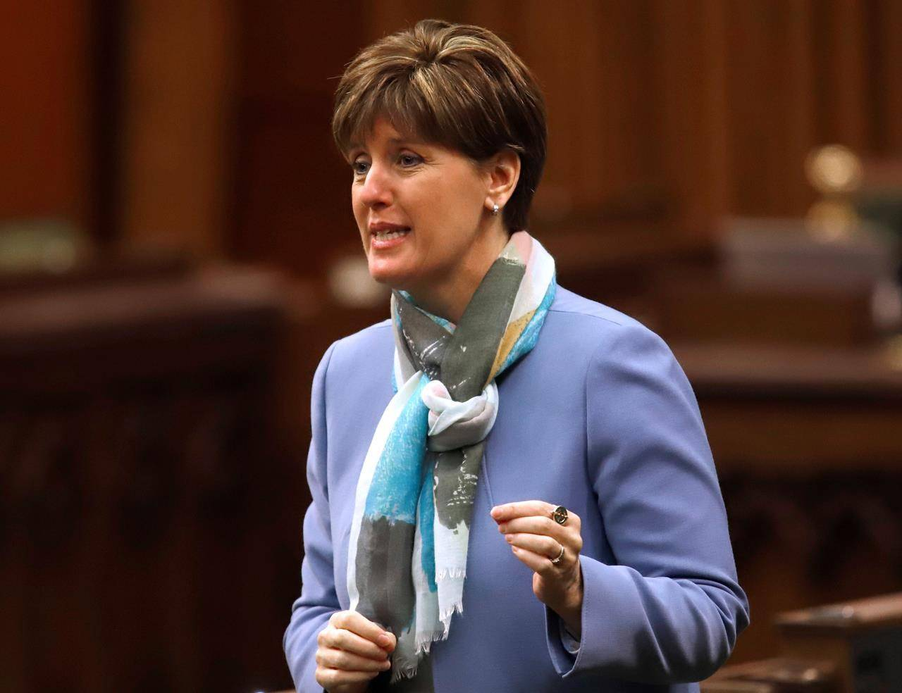 Minister of Agriculture and Agri-Food Minister Marie-Claude Bibeau responds to a question during question period in the House of Commons on Parliament Hill in Ottawa on Friday, Dec. 11, 2020. A British Columbia company that feeds food waste to insects to produce pet food has received $6 million from the federal government for it's new state-of-the-art plant just north of Calgary. THE CANADIAN PRESS/ Patrick Doyle