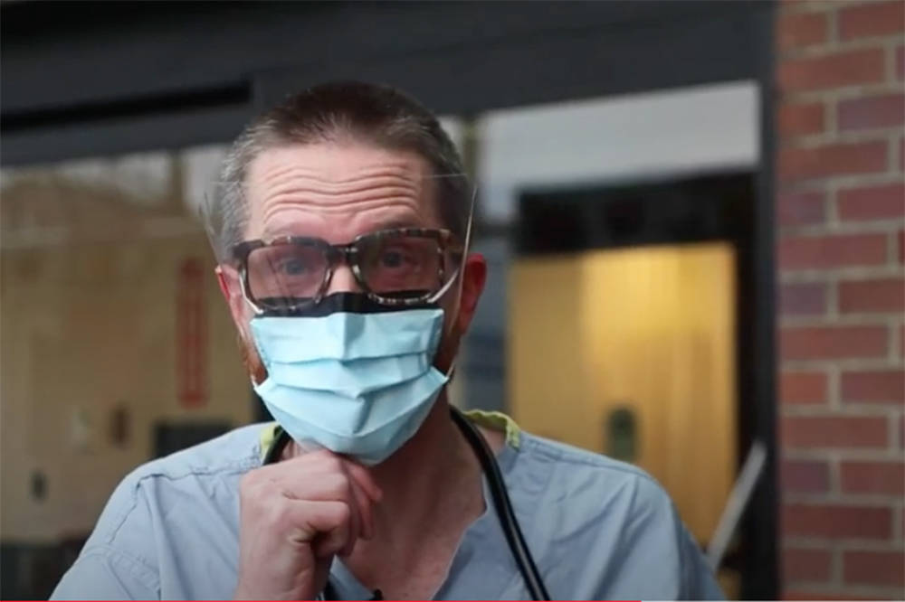 Chilliwack ER doctor Marc Greidanus is featured in a video, published Jan. 18, 2021, where he demonstrates and describes effectiveness of various styles of masks. (Youtube)