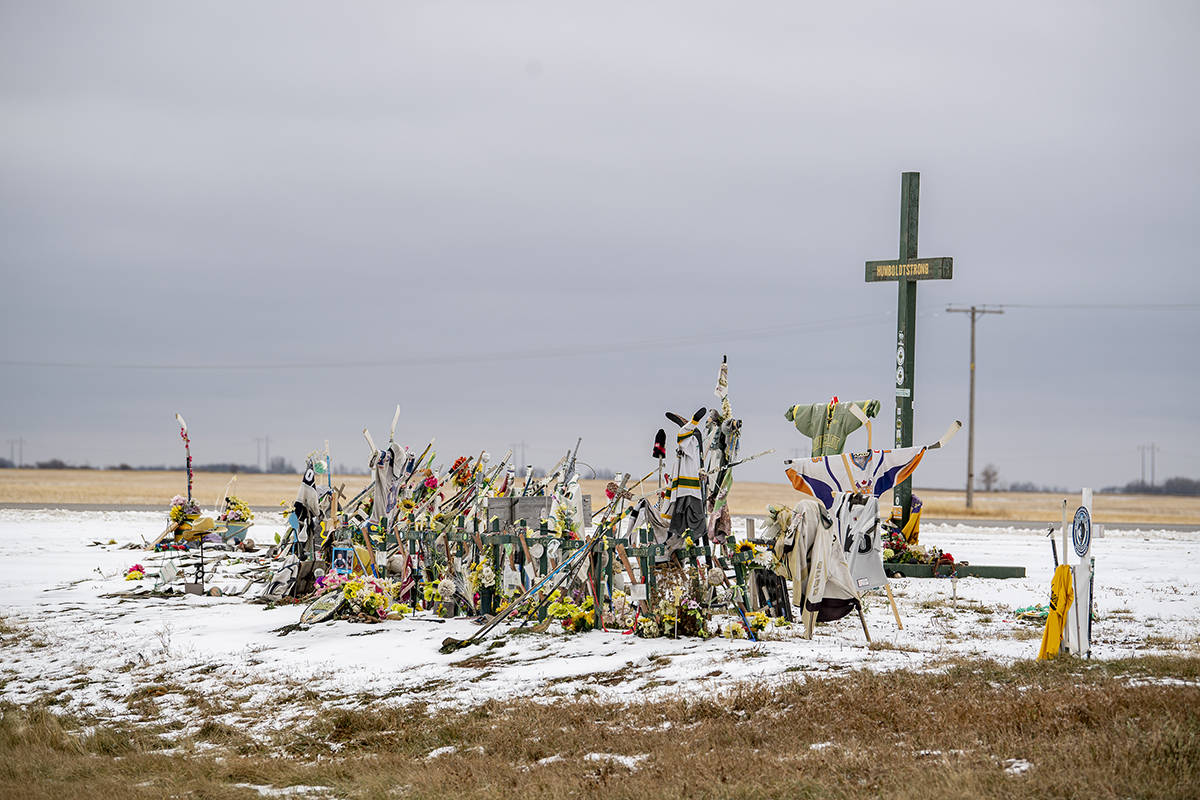 A memorial for the fatal bus crash involving the Humboldt Broncos hockey team at the intersection of Highways 35 and 335 near Tisdale, Tuesday, October 27, 2020. THE CANADIAN PRESS/Liam Richards