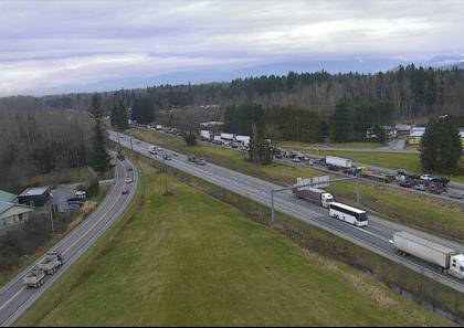 A vehicle incident westbound on Highway 1 in Langley in causing a backlog of traffic (Drive BC photo)