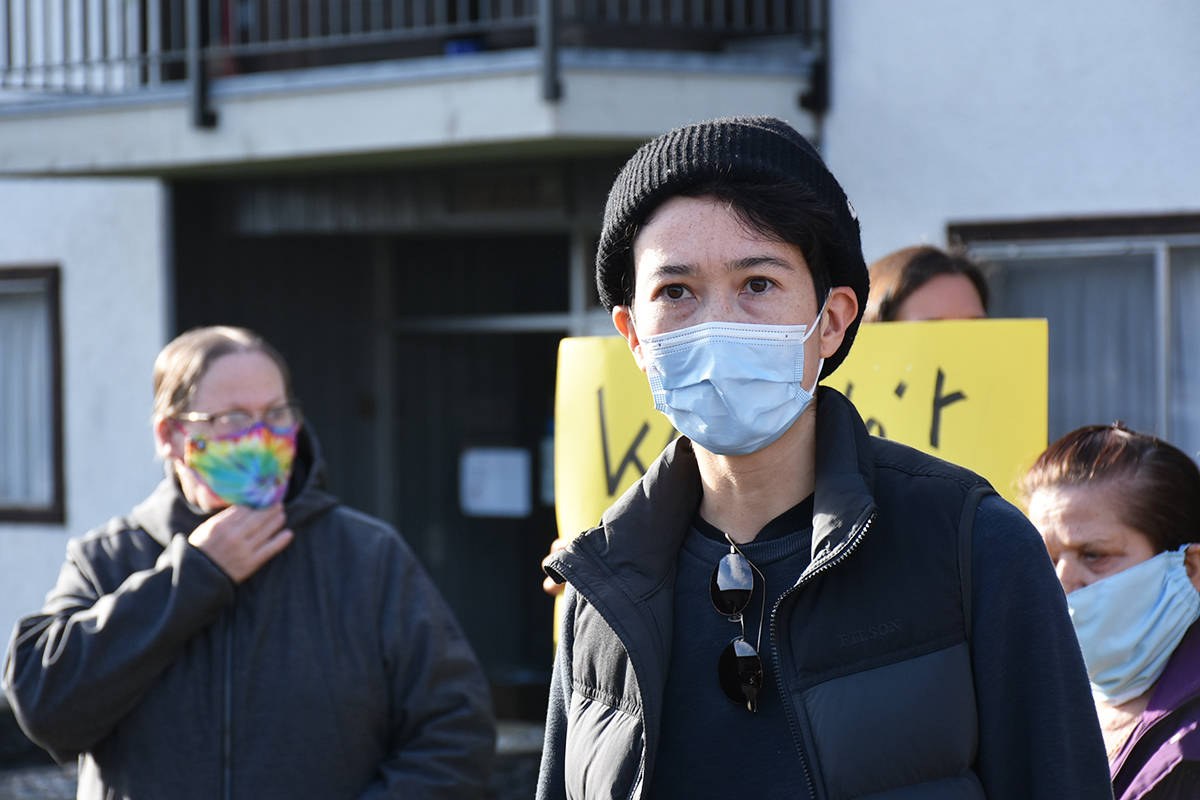 Housing advocate, Listen Chen, hosted the press conference in front of the Cityviews Village apartment building in Maple Ridge. (Ronan O'Doherty - The News)