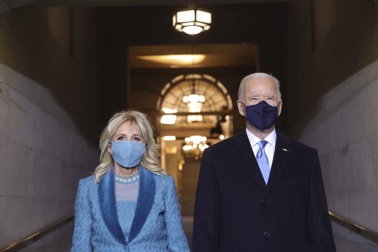 President-elect Joe Biden and Jill Biden arrive at his inauguration on the West Front of the U.S. Capitol on Wednesday, Jan. 20, 2021 in Washington. THE CANADIAN PRESS/AP-Win McNamee/Pool Photo via AP