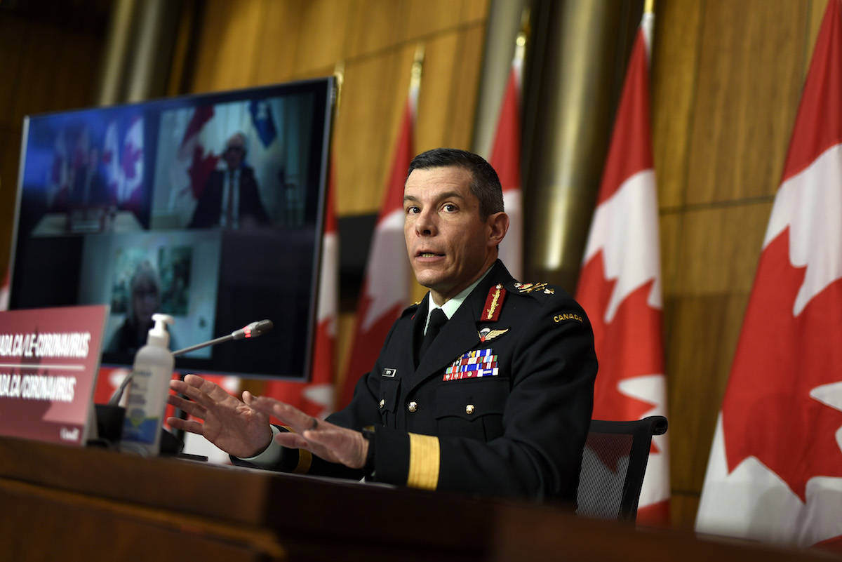 Maj.-Gen. Dany Fortin, vice-president of logistics and operations at the Public Health Agency of Canada, speaks at a news conference on the COVID-19 pandemic in Ottawa, on Friday, Jan. 15, 2021. THE CANADIAN PRESS/Justin Tang