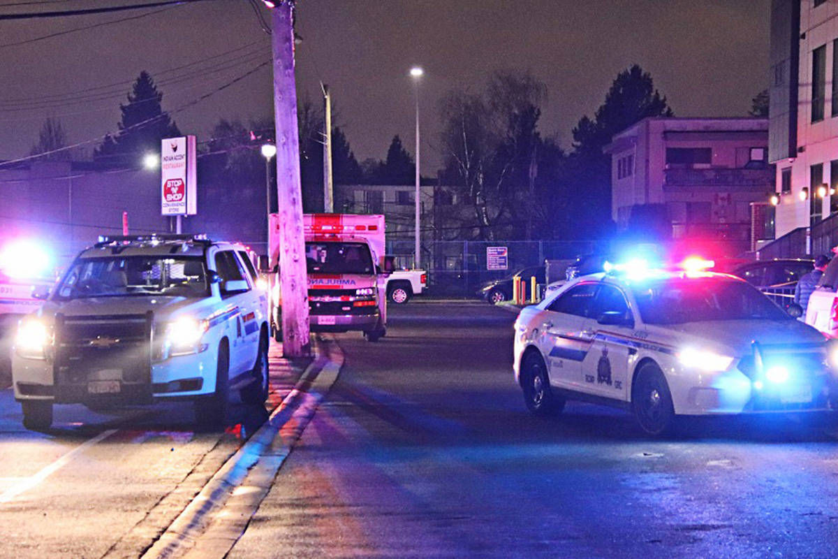 The RCMP was called to a condo complex in Langley City in the early hours of Jan. 18, 2021, for a shooting. (Shane Mackichan/Special to the Langley Advance Times)