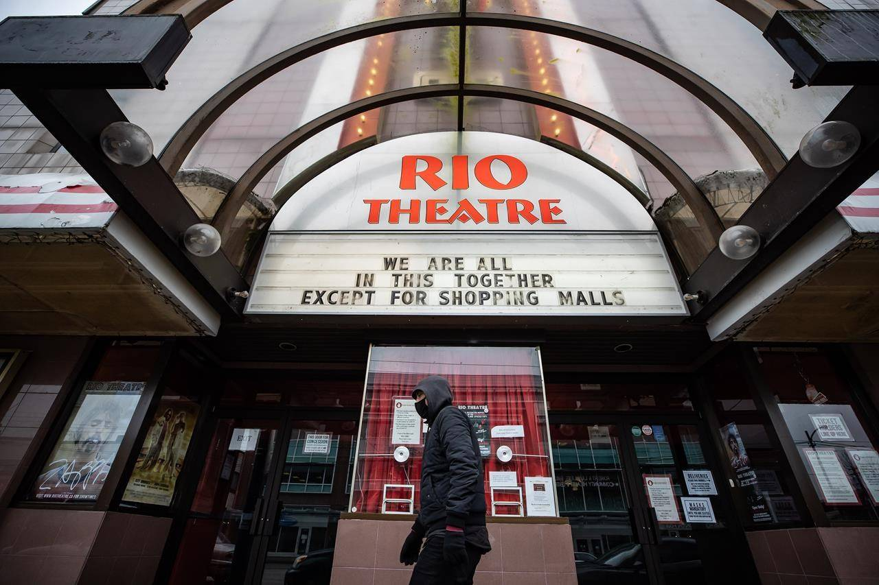 A person wearing a face mask to curb the spread of COVID-19 walks past the independent Rio Theatre, displaying a COVID-19 related message on its marquee, in Vancouver, B.C., Sunday, Dec. 6, 2020. The Rio Theatre in Vancouver says it's reopening as a sports bar showing games on the big screen, a move that would work around provincial health orders that allow bars to stay open but theatres to close. THE CANADIAN PRESS/Darryl Dyck