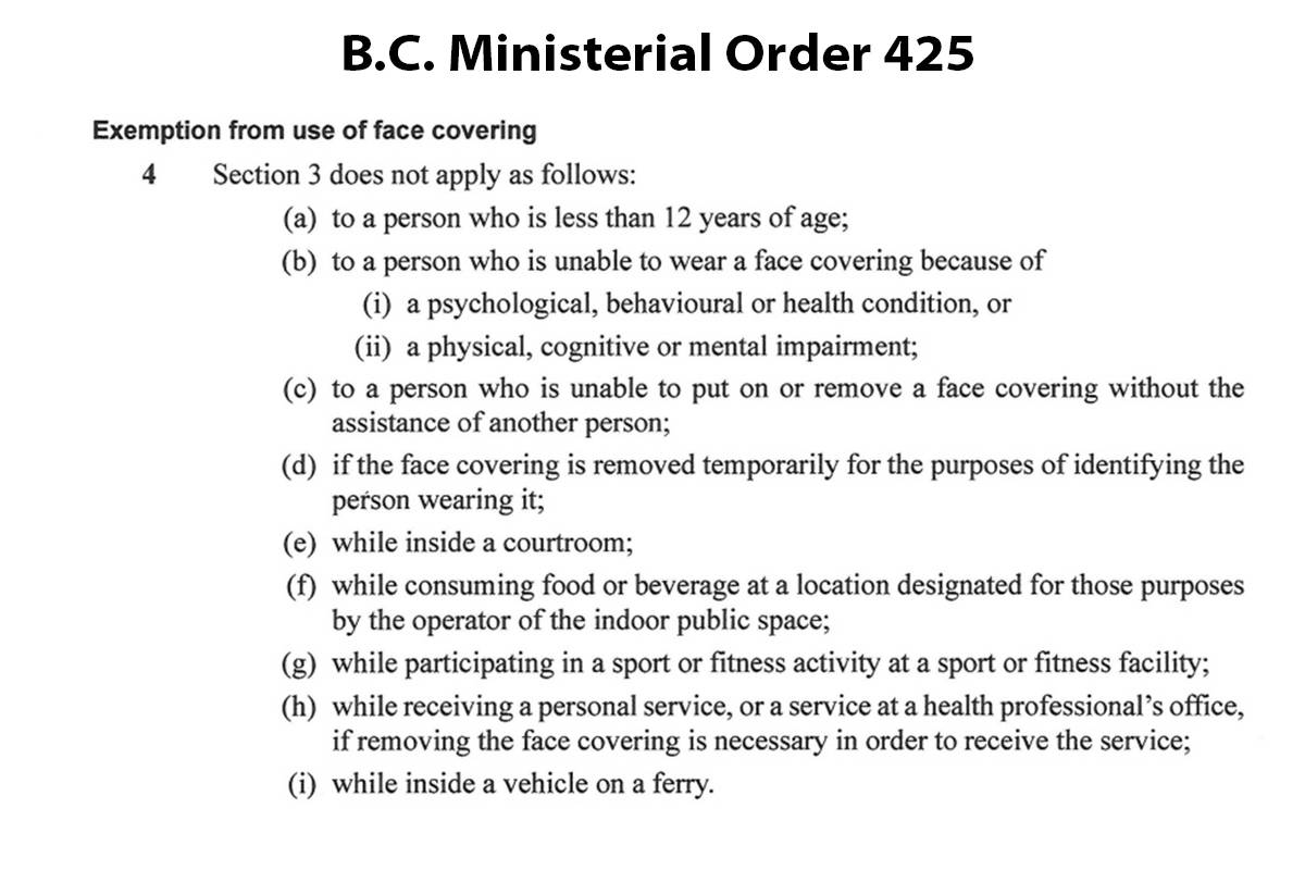 B.C. MInisterial Order 425 and the list of permitted exemptions to wearing face masks in retail businesses and other public spaces. (B.C. Government website)