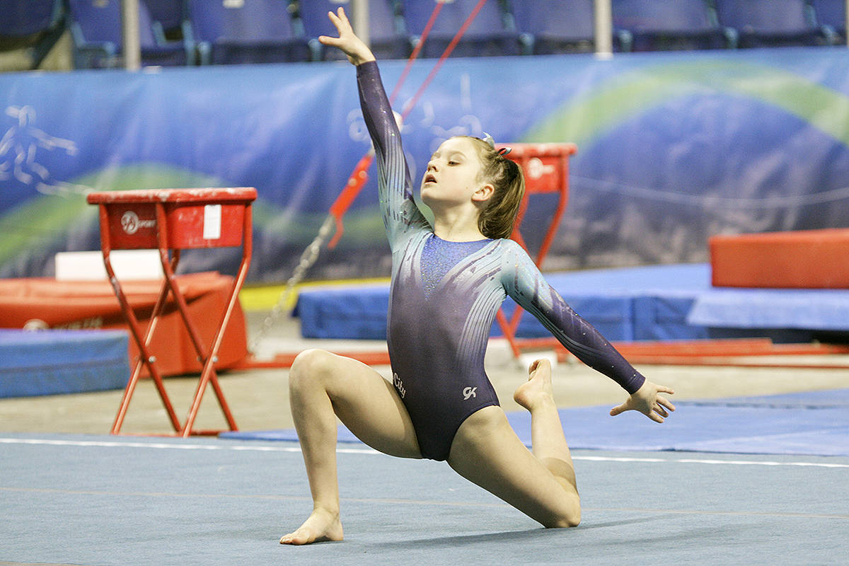 Flip City's Elise Van Harmelen at the 2017 Langley Invitational at the Langley Events Centre. Flip City is one of 11 local sports groups getting COVID relief funding. (Langley Advance Times files)