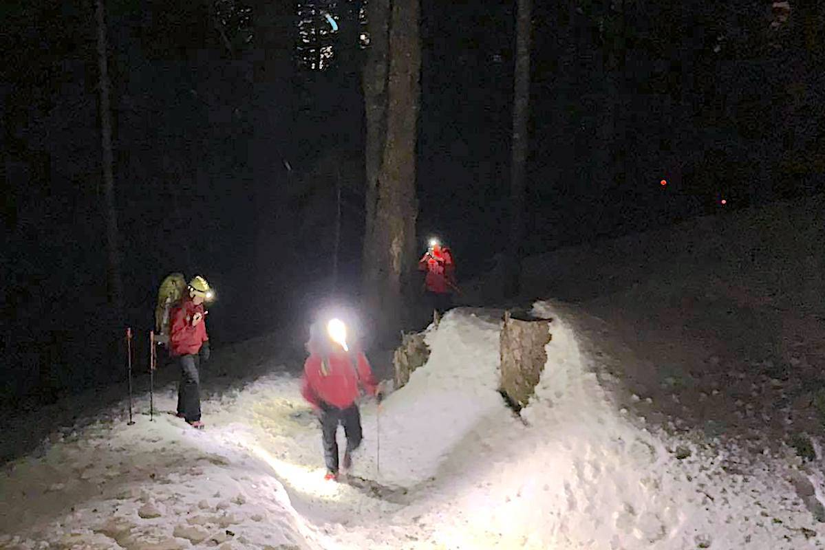 The Vancouver-based SAR team successfully rescued two lost snowshoers off of the west side of Tim Jones Peak in the early morning of Monday, Jan. 19. (North Shore Rescue photo)