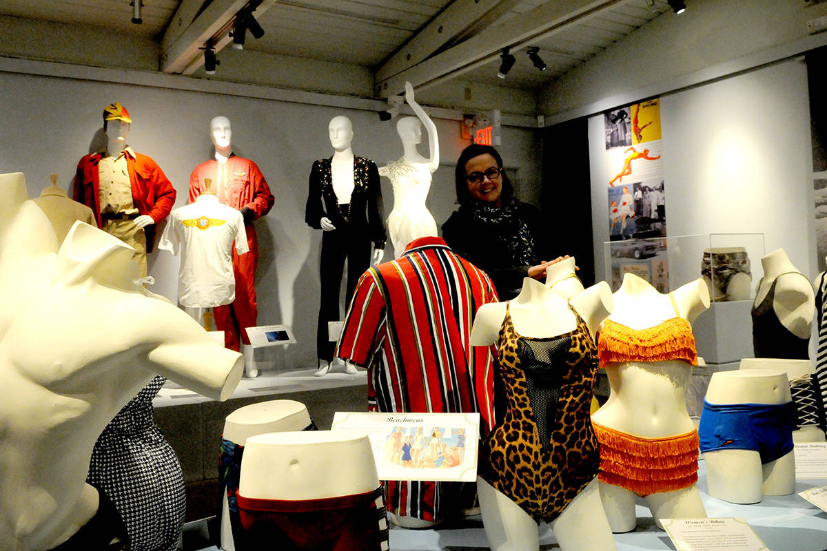 Curator Kobi Christian with an exhibit on historic clothing that was on display at the Langley Centennial Museum last February. (Langley Advance Times files)