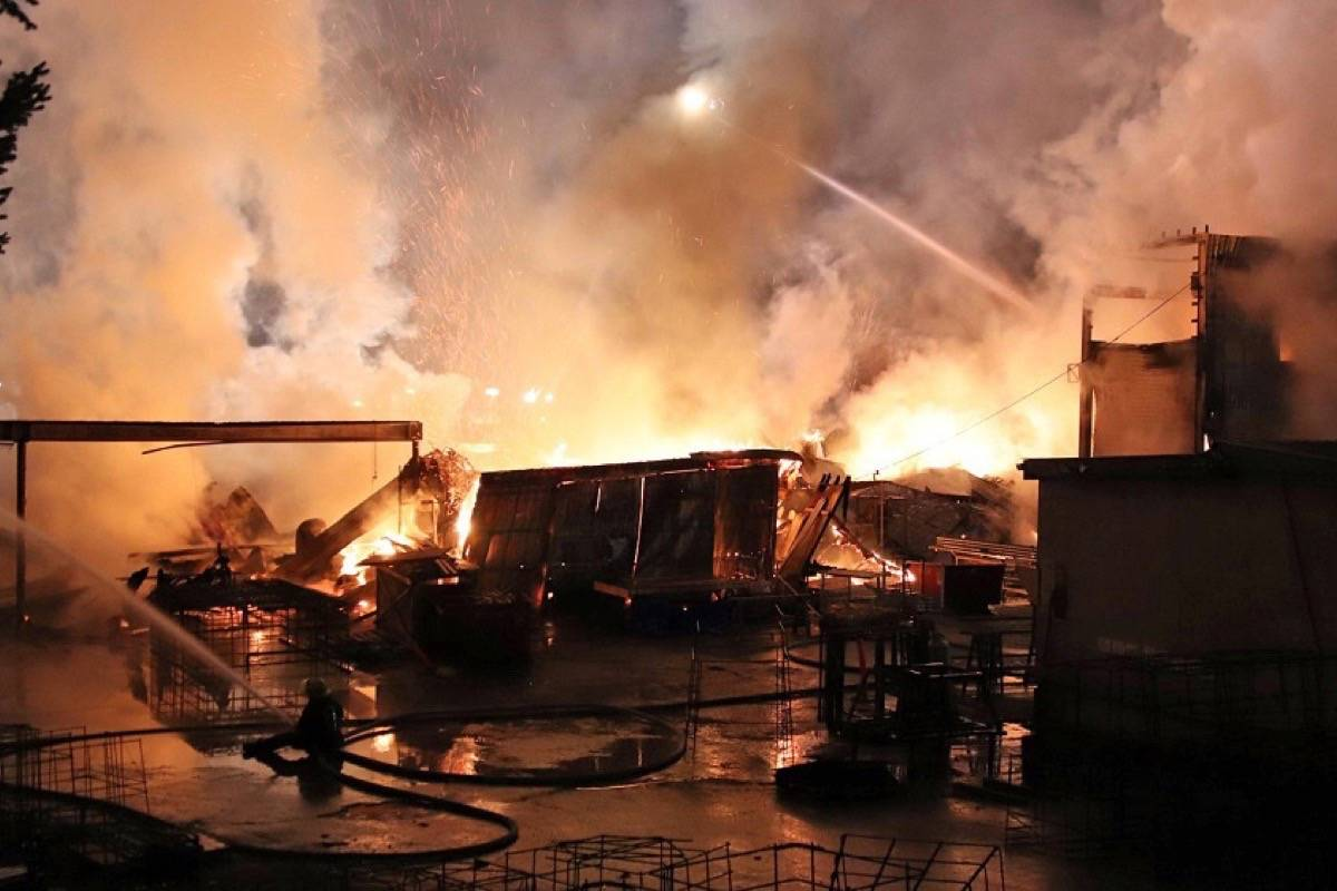 Surrey Fire Service responded to a fire in the industrial area of 192nd street and 54th Avenue early Saturday morning (Jan. 23, 2021). (Photo: Shane MacKichan)