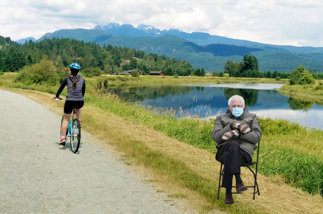 U.S. politician Bernie Sanders sits along the dikes in the City of Maple Ridge. (Brenda Norrie/Special to the Maple Ridge News)
