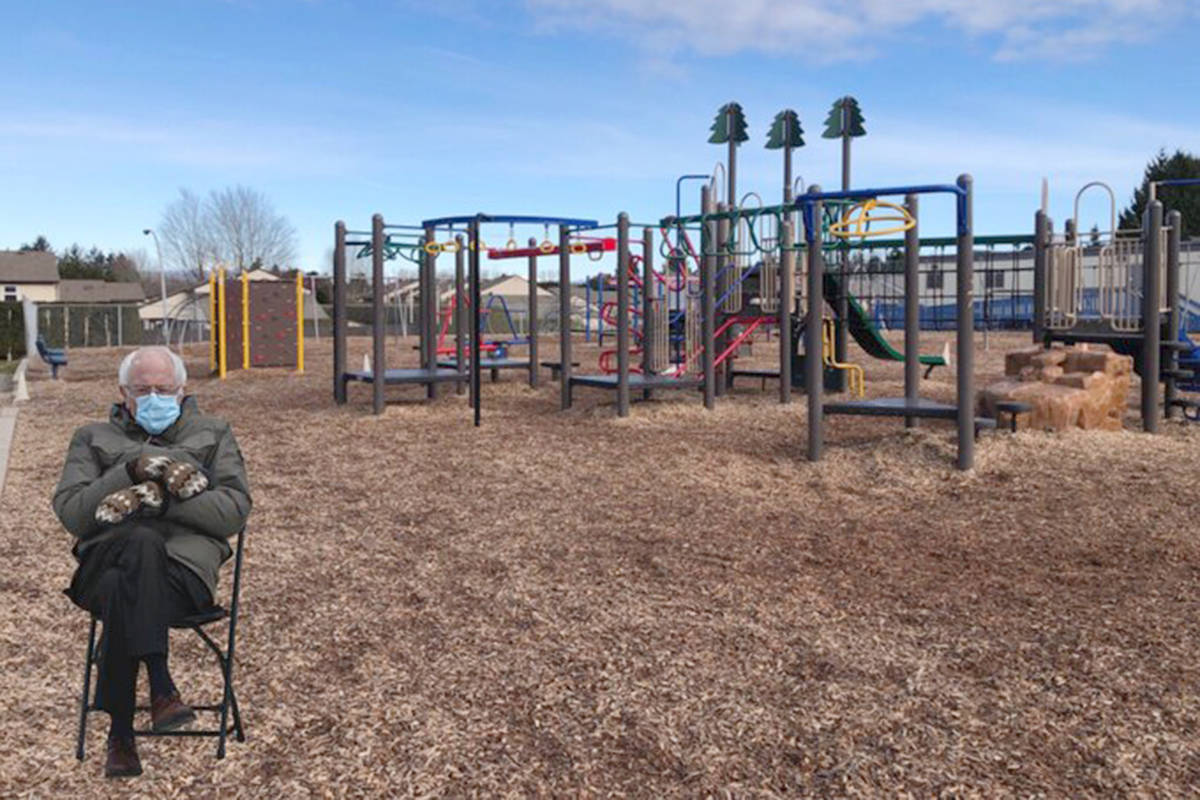 Chris Wejr, principal of Aldergrove's Shortreed Elementary, made Sanders a playground monitor. 'Not sure about this new noon hour supervisor' Wejr joked (Twitter image)