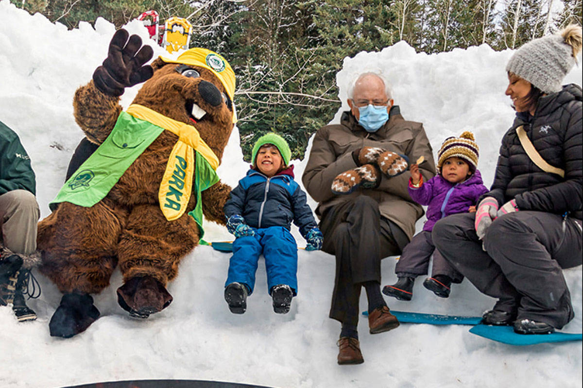 U.S. Senator Bernie Sanders and the staff at Mount Revelstoke and Glacier National Park are patiently waiting until visitors can return for some winter fun post-pandemic. (Mount Revelstoke and Glacier National Park/Facebook)