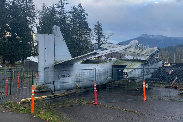 A 75-year-old aircraft has been languishing in a parking lot on the campus of the University of the Fraser Valley, but will soon be moved to the B.C. Aviation Museum. (Paul Henderson/ Chilliwack Progress)