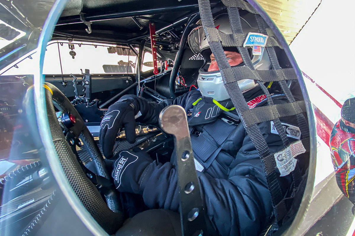 Justin Bond in the drivers seat of Bahrain 1. He set a world record during a warm-up pass during the Drag Illustrated Doorslammer Nationals on March 7 in Orlando, going a quarter-mile in 5.623 seconds at 253.14 miles per hour.