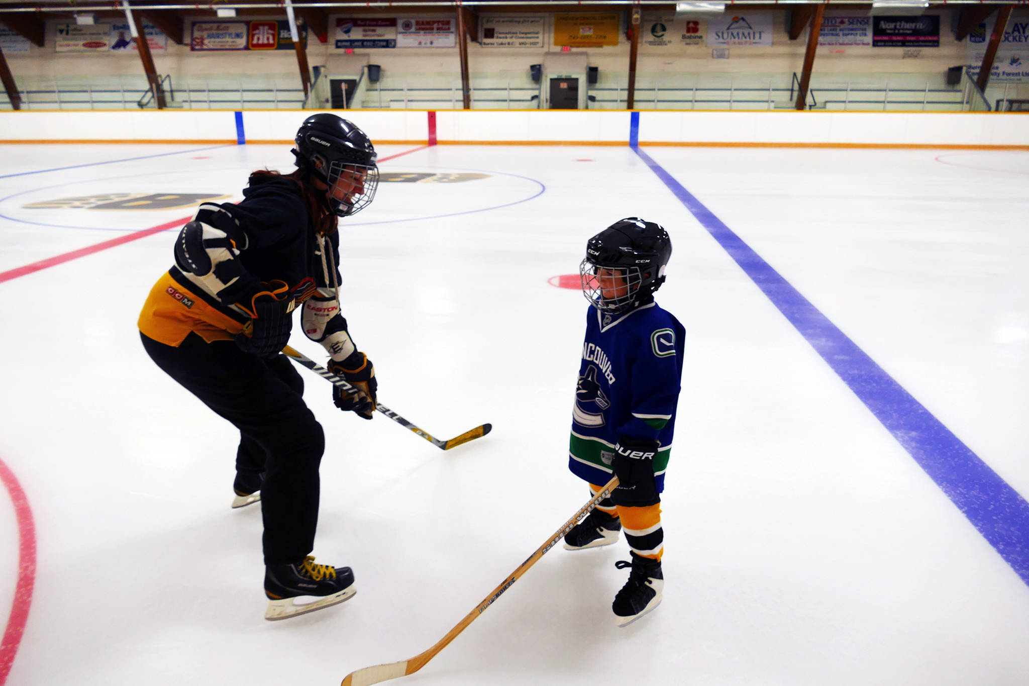 Burns Lake Minor Hockey IP group started practice last week with Coach Sarah Green. (Priyanka Ketkar - Lakes District News)