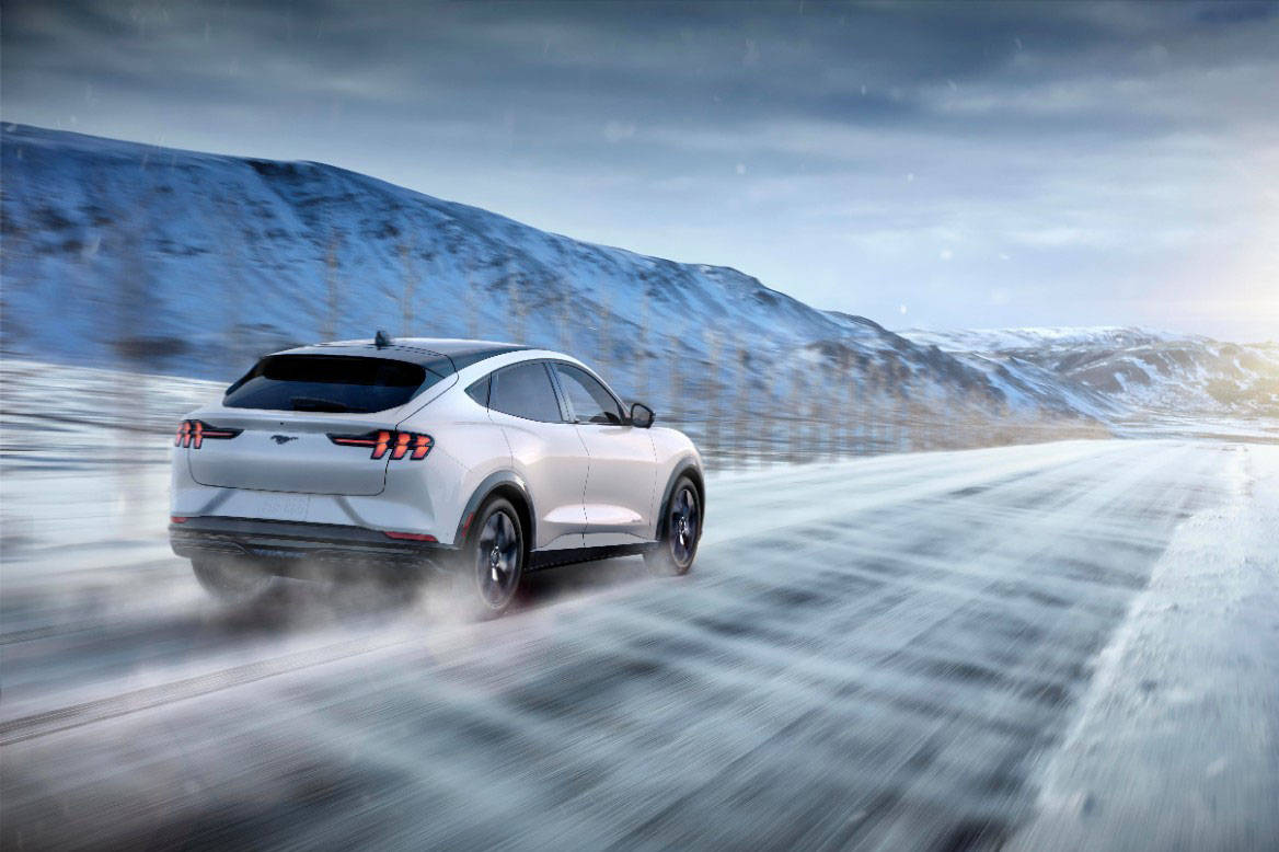 The Mach-E's electric range varies depending on the model and whether rear- or all-wheel-drive. Maximum range is claimed to be 480 kilometres. PHOTO: FORD
