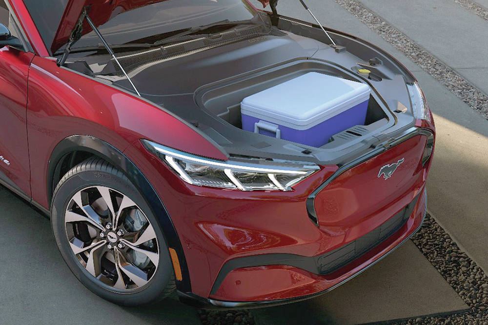 With no internal-combustion engine, the Mach-E gets a small front truck that has a drain. Yes, you can fill it with ice and use it as a cooler. PHOTO: FORD