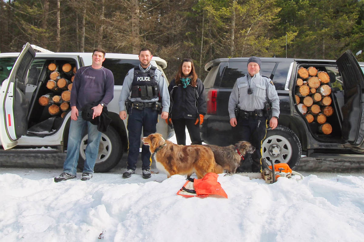 From the left: Midway RCMP Csts. Jonathan Stermscheg and Chris Hansen, Public Servant Leanne Mclaren and Cpl. Phil Peters. Pictured in the front are Mclaren's dog, Lincoln and Peters' dog, Angel. Photo courtesy of BC RCMP