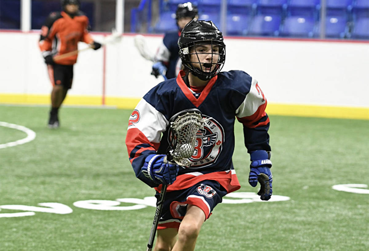 Cody Malawsky at the box lacrosse provincials in 2019. As the highly skilled player adds size he will dominate junior, predicts longtime coach Daren Fridge. (Tim McCormick/Special to The Langley Advance Times)