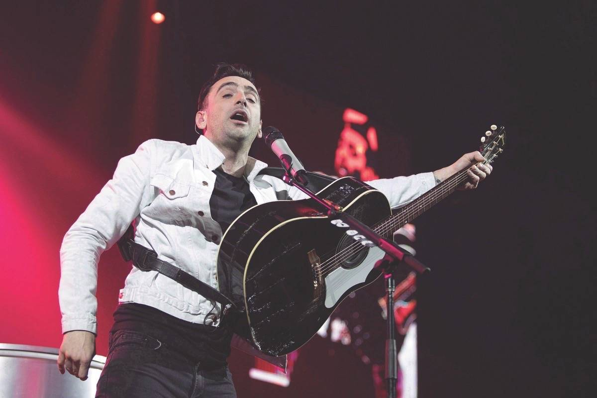 Hedley lead singer Jacob Hoggard performs during the band's final concert of their current tour in Kelowna, B.C. on Friday, March 23, 2018. THE CANADIAN PRESS/Jeff Bassett